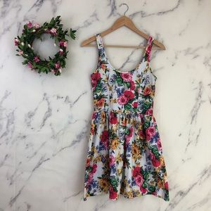 Zara Trafaluc Floral Fit & Flare Skater Dress